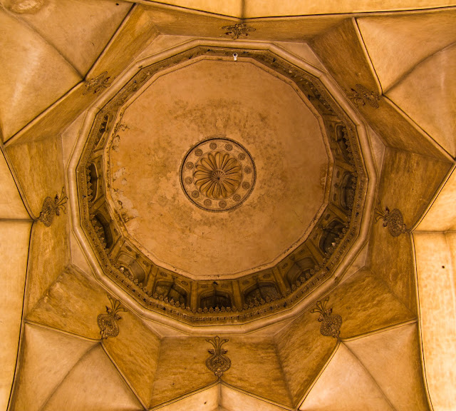 Persian stucco work on the central dome of Charminar