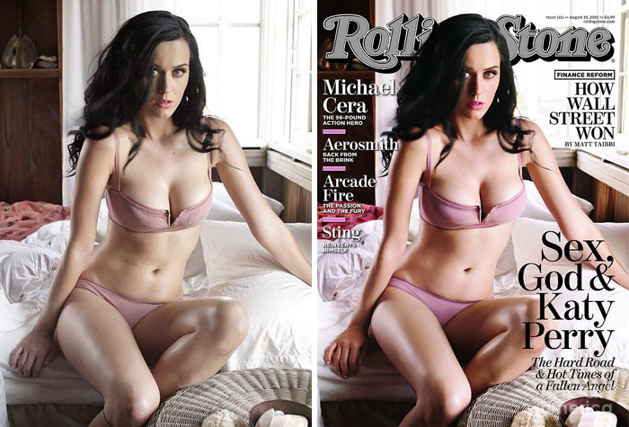 20 Before & After Images Of Celebs Reveal Society's Unrealistic Standards Of Beauty - Katy Perry