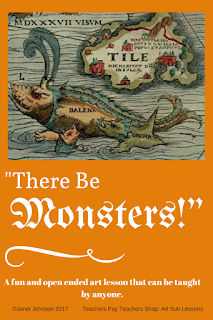 Cover for an art sub lesson plan about maps and sea monsters