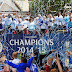 Chelsea players and fans after they won the Barclays Premier League