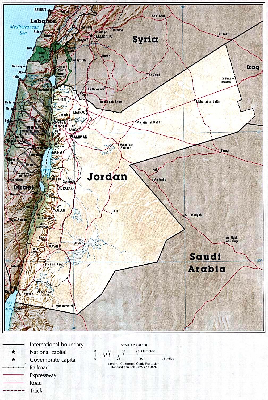 Jordânia | Mapas Geográficos da Jordânia
