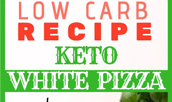 KETO WHITE PIZZA with mushrooms and pesto