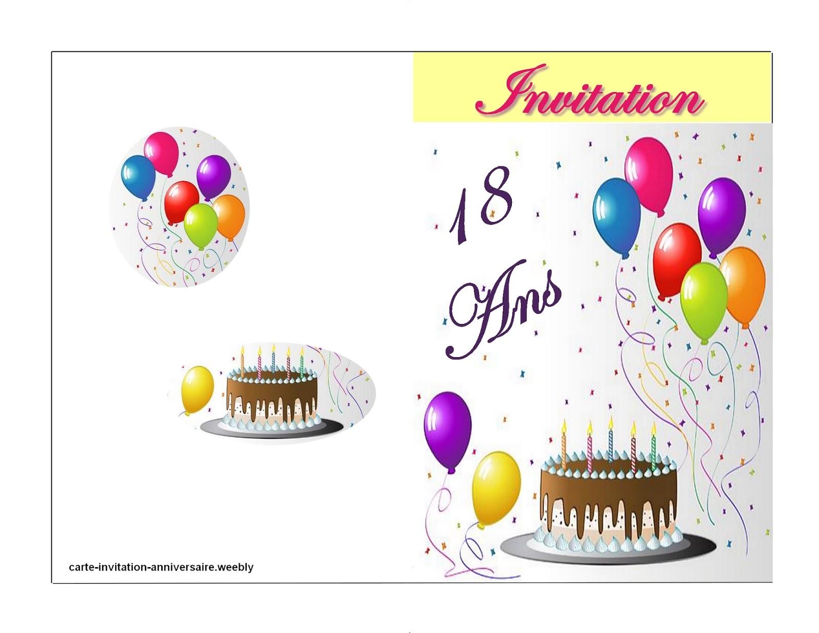 Très Imprimer carte: Carte invitation anniversaire à imprimer  YM12