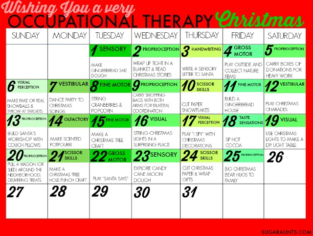 Celebrate the Christmas season with Occupational Therapy goal areas and calming strategies during this hectic season, allowing families to connect and focus on the true meaning of the season while working on developmental areas.