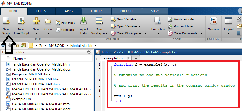 Creating a Function in MATLAB   E-Pandu Com