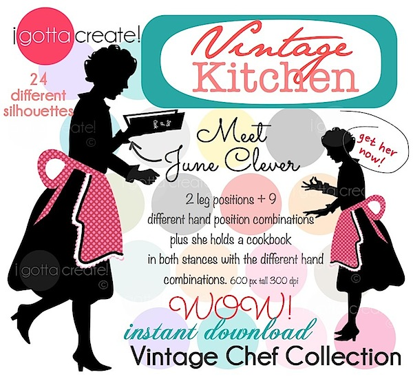 June Clever Chef Icons at I Gotta Create  #kitchen #baking #retro