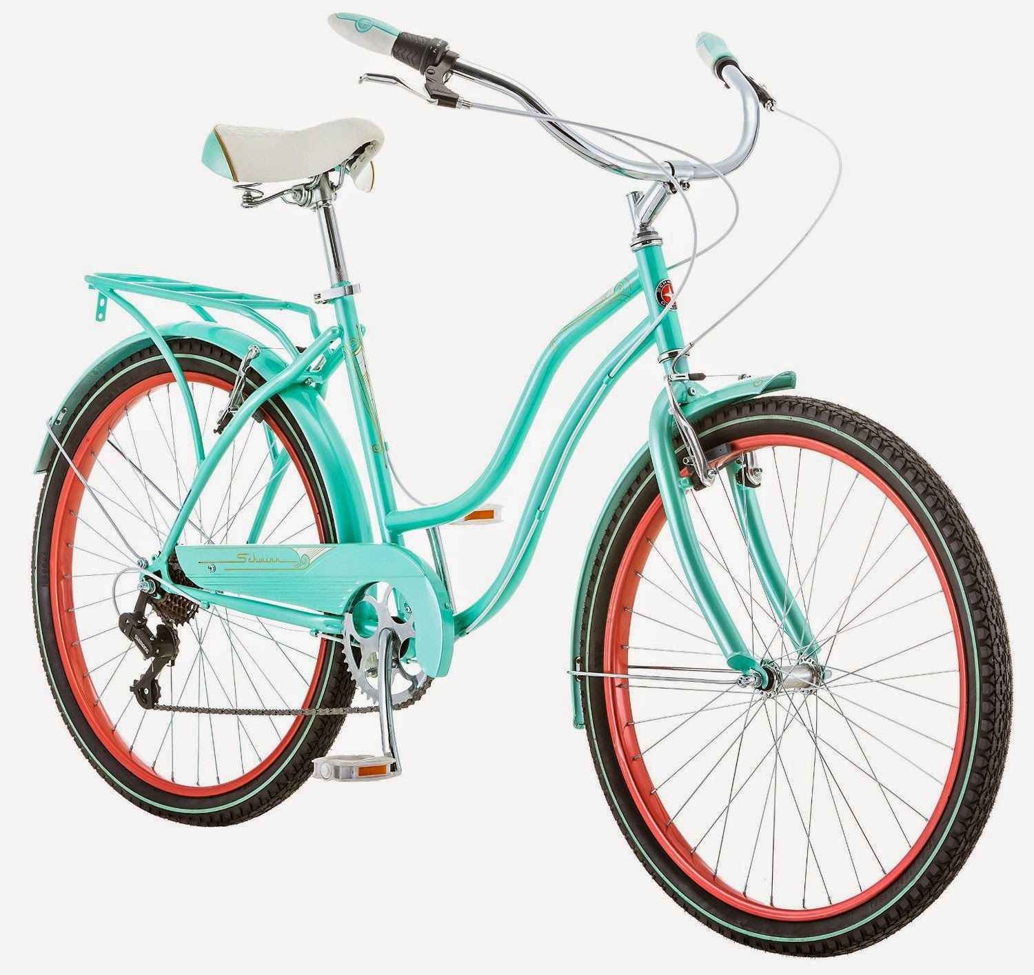 "Schwinn Perla 7 Speed Women's 16 Cruiser Bike, 16""/Small, Blue, review, steel frame and fork, swept-back handlebars, 7 gears, alloy V brakes, padded spring saddle, full fenders, rear rack"