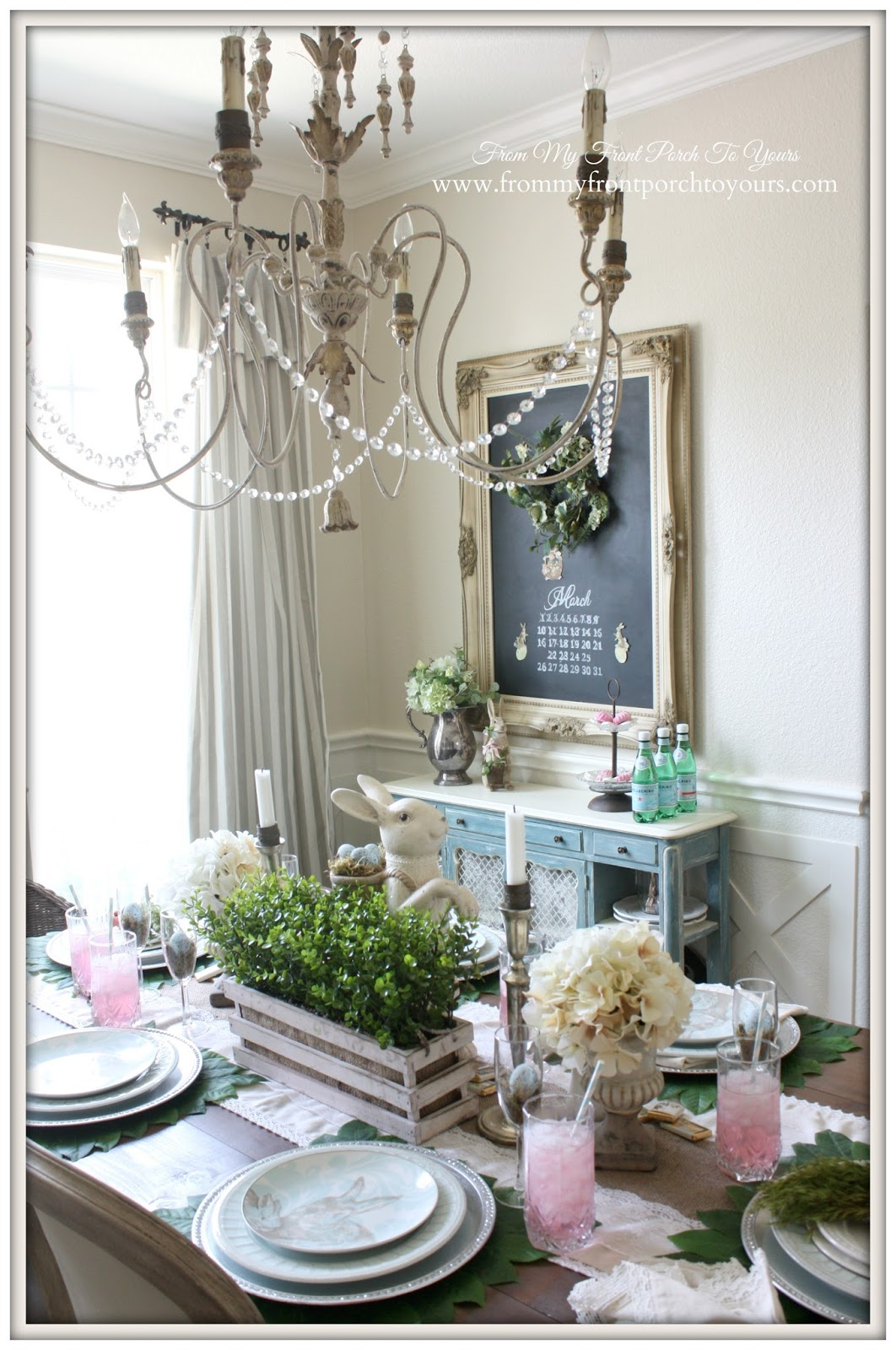 French Farmhouse Easter Dining Room-Faux Boxwood- From My Front Porch To Yours