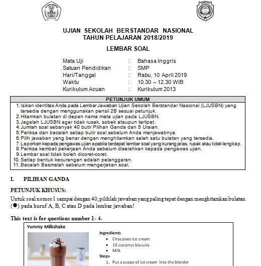 Soal Dan Kunci Jawaban Usbn Bahasa Inggris Smp Kurikulum 2013 Tahun Pelajaran 2018 2019 Didno76 Com