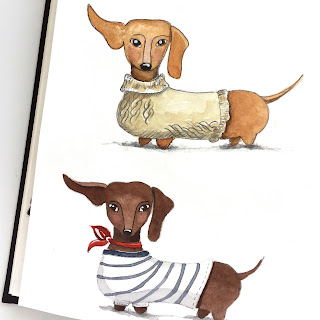 Dachshund sketches in pencil and watercolor with flying ears and cute shirts - by Amy Lamp