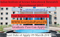 Indian Institute of Science Education and Research Recruitment 2017–Technical Assistant, Junior Office Assistant