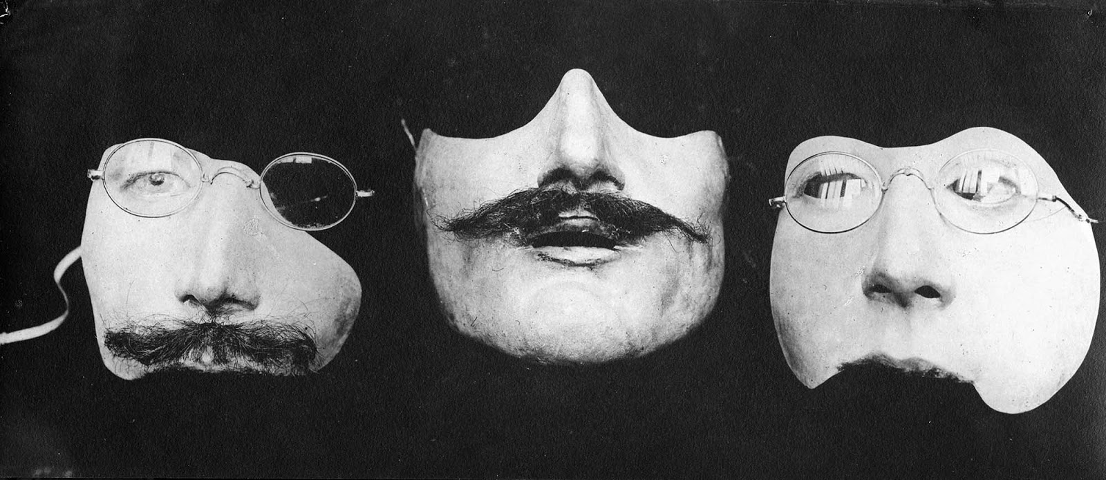 A variety of portrait masks produced by Anna Coleman Ladd.