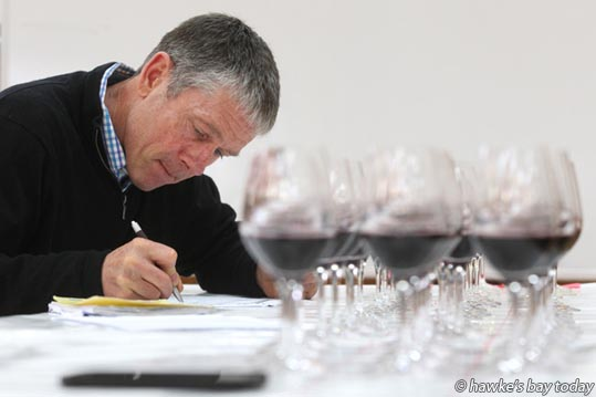 Phil Brodie, wine judge, judging the new Provenance class - Judging for the Hawke's Bay A&P Bayleys Wine Awards started this week at EIT in Taradale. Now in their 16th year they are the oldest regional wine awards in New Zealand. photograph