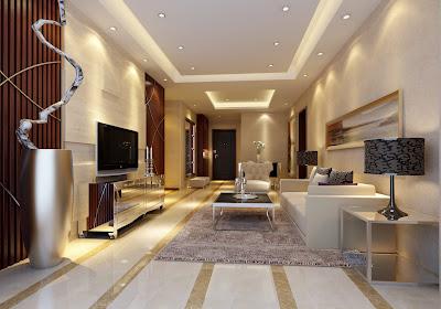 marble floor implementation in tv room