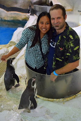 Girl Travel and Fiance with Penguins in Manila Oceans Park