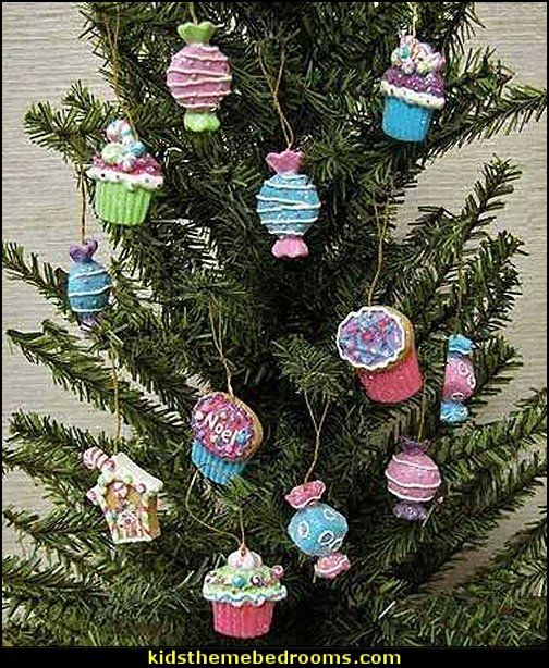Candy and Cake Ornaments for Tree Trim  candy Christmas theme decorating - candy themed christmas decorations - christmas candyland decorations -  candy ornaments -  candy shaped holiday ornaments - candy themed Christmas decor -   lollipop candy swirls Throw Pillows - candy stripe Chritmas decor