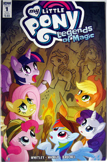 Sub cover of MLP Legends of Magic #1, showing the Mane Six looking at cave paintings resembling G3 ponies