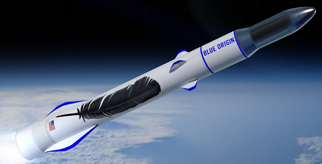 An artist's rendering of Blue Origin's New Glenn rocket. Image Credit: Blue Origin