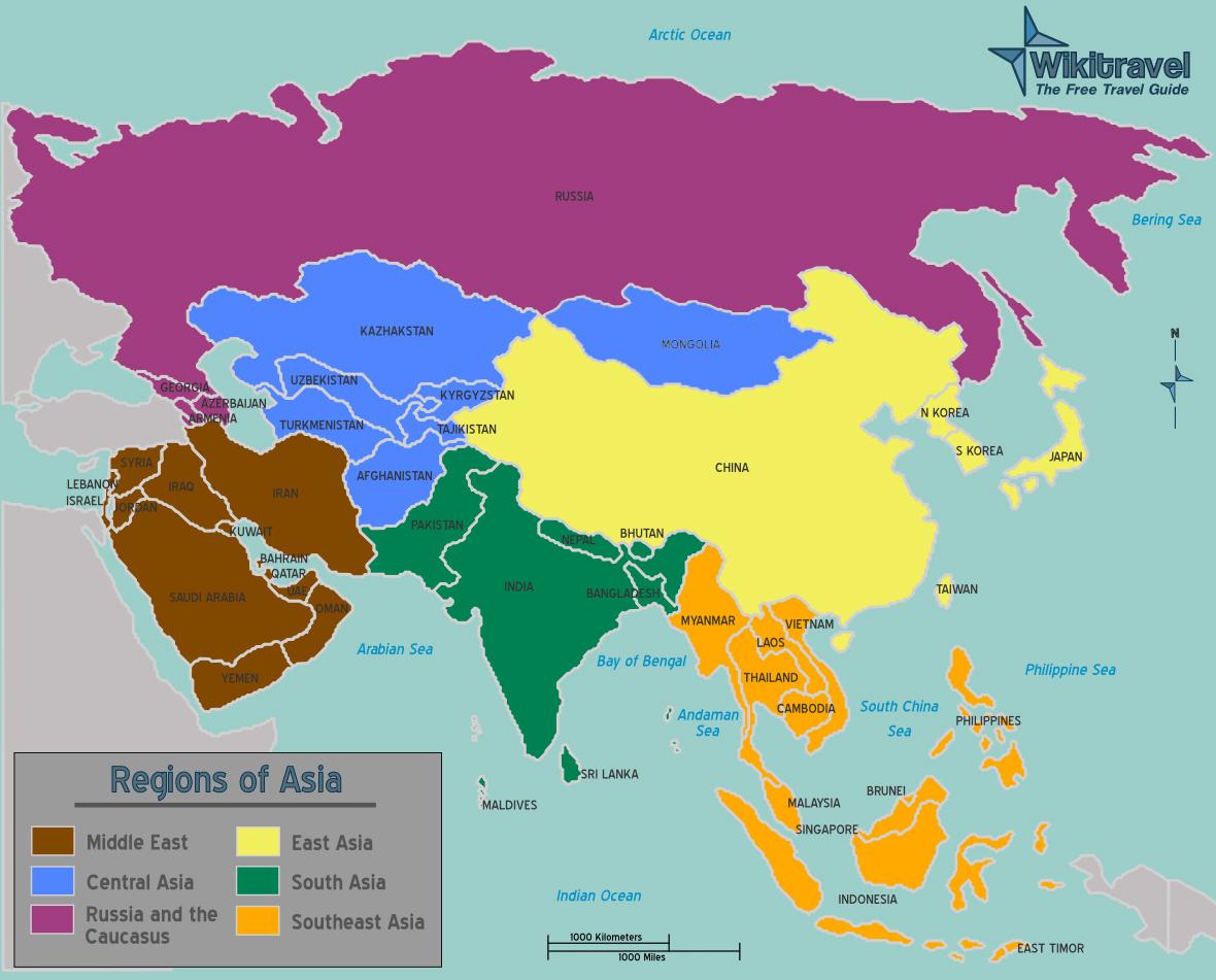 karta över asien Asien Karta över Region Politiska karta över asien