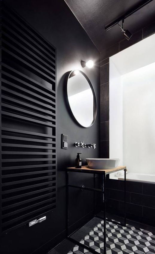 stylish black bathroom design idea