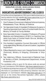 UPSC Employment Notification No.13/2015 for various Jobs