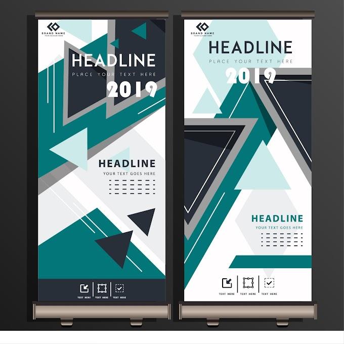 Corporate poster standee scroll design geometric triangles decor Free vector