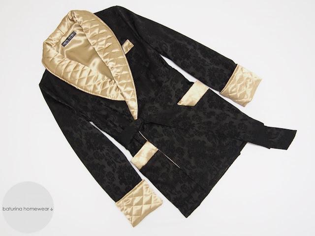 mens smoking jacket gentleman robe black gold quilted shawl collar traditional english robes