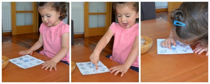 juego para adquirir conciencia fonológica: bingo de rimas, niña jugando