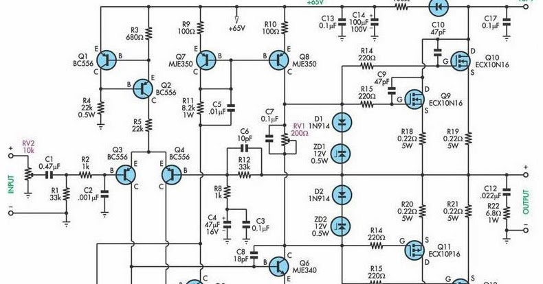 Schematic Diagram: 200W Subwoofer Amplifier Circuit