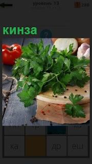 На столе лежит кинза, помидор и лук, в качестве ингредиентов для приготовления