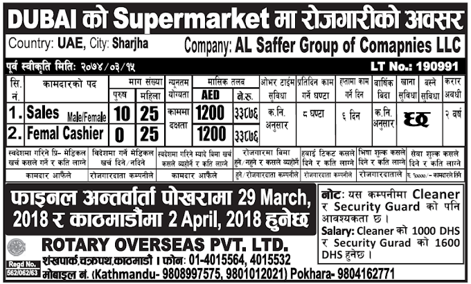 Jobs in Dubai for Nepali, Salary Rs 33,876