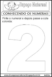 Numeral dois para colorir