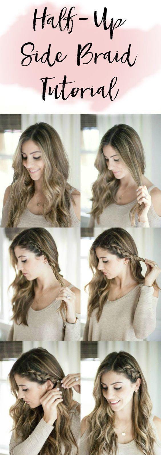 Easy Women's Hairstyles Half Up Side Braid Tutorial