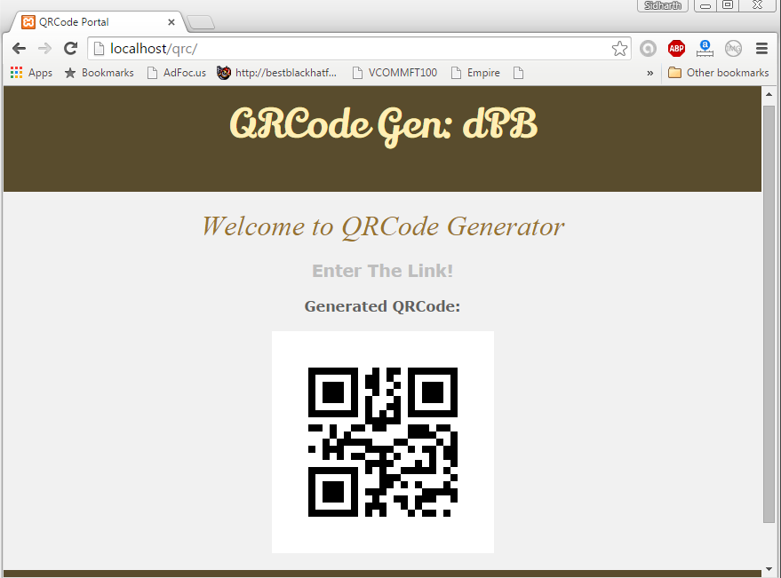 Generated QR code of the input Given