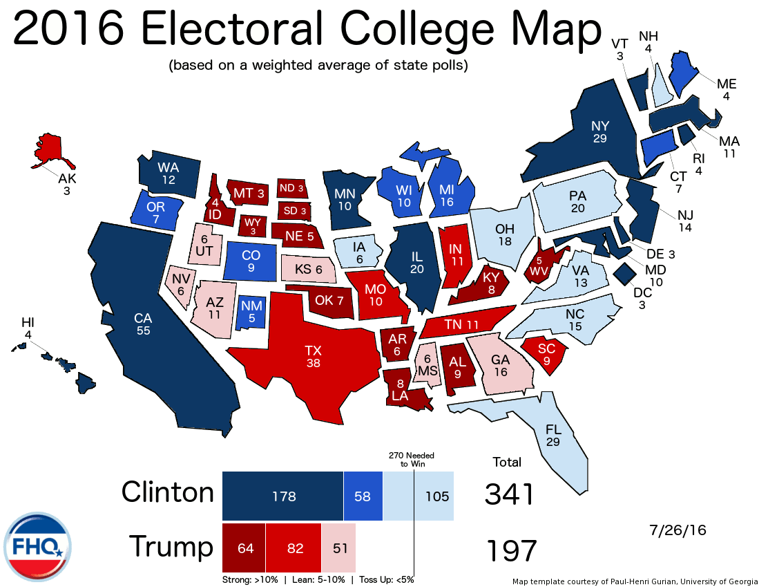 Frontloading Hq The Electoral College Map 7 26 16
