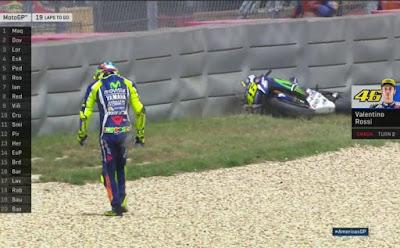 Masuk Lap Ke-3 Race Austin, Rossi Jatuh di Tikungan 2