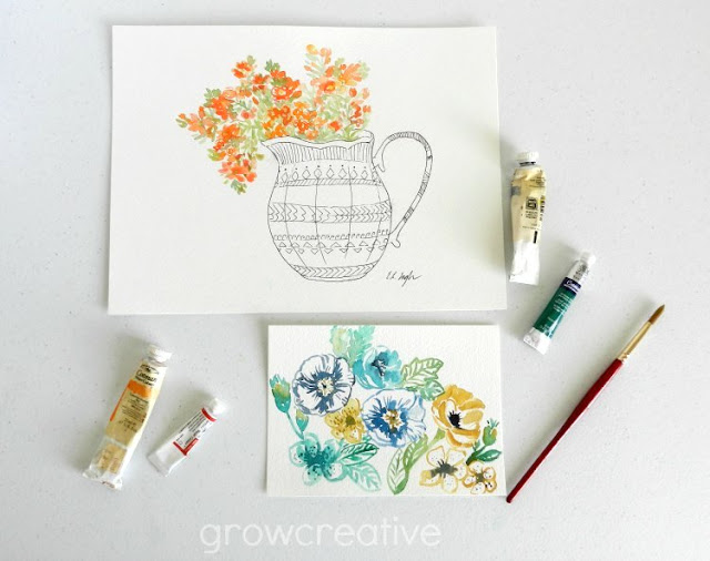 Original Watercolor Paintings by Elise Engh- Spring Wildflowers