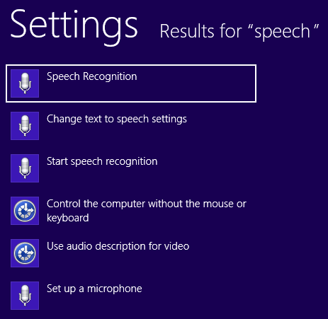 start speech recognition windows 8