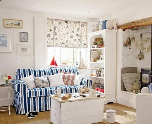Nautical Blue White Striped Sofa Idea