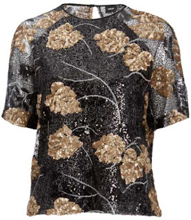 asos embellished t-shirt  leaf sequin design