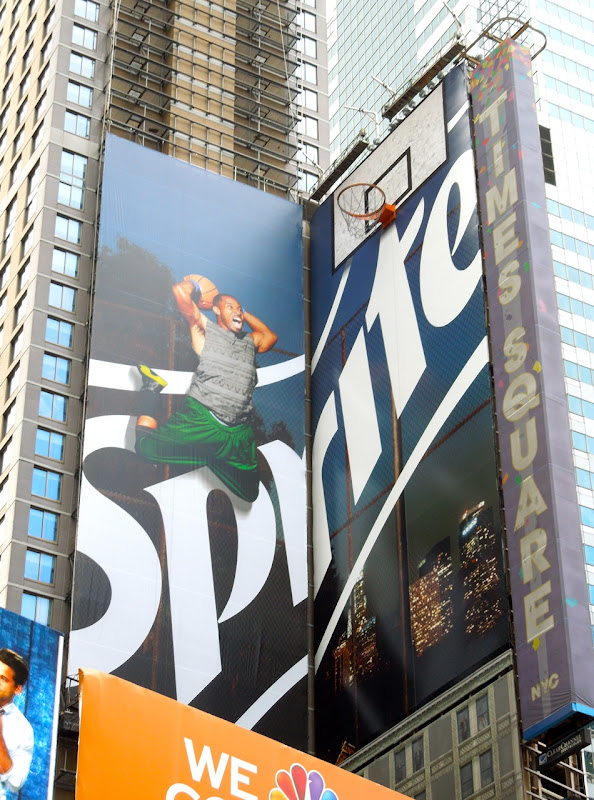 Sprite basketball hoop billboard installation Times Square NYC