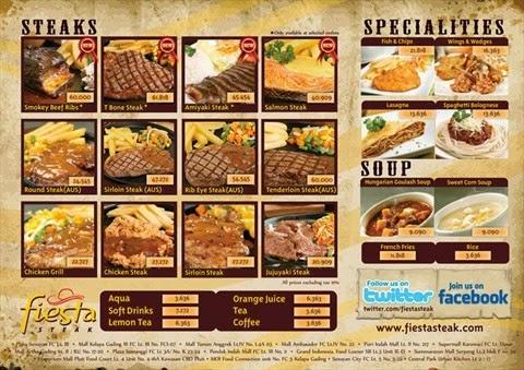Daftar Harga, Harga Menu Fiesta Steak, Sirloin steak, Rib eye steak, Chicken Grilled, Western steak, Thai tea,