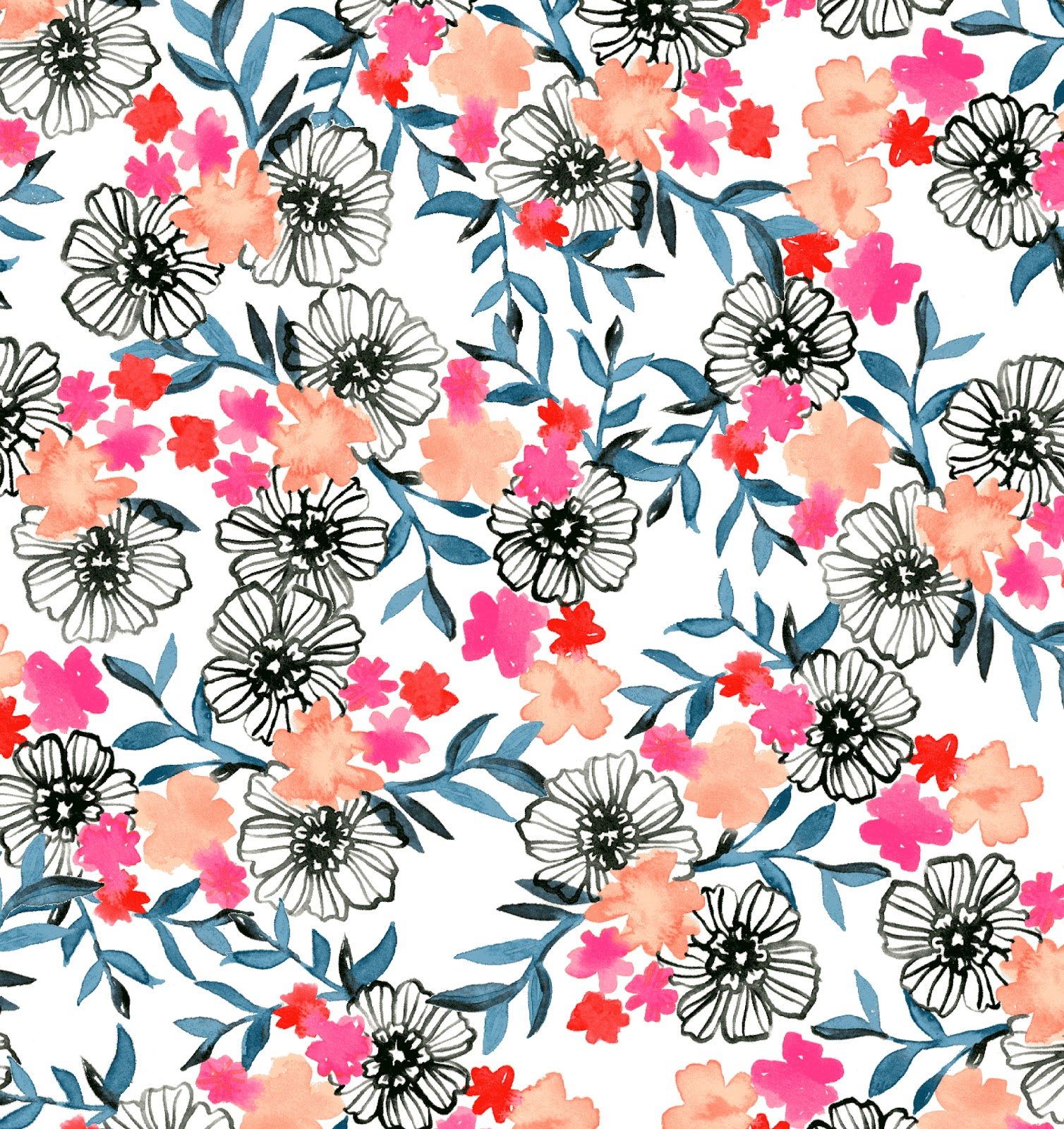 floral prints kelman melissa flower pattern watercolor watercolour wallpapers worked wanted personal illustration surface fabrik papier florals abstract behance pintura