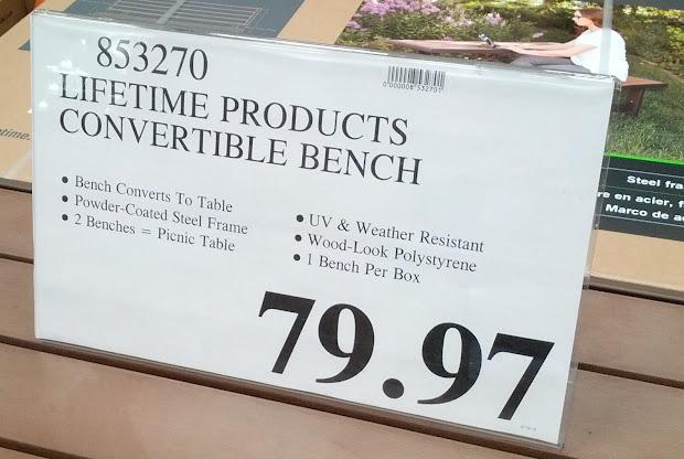 Costco Lifetime Convertible Bench Table