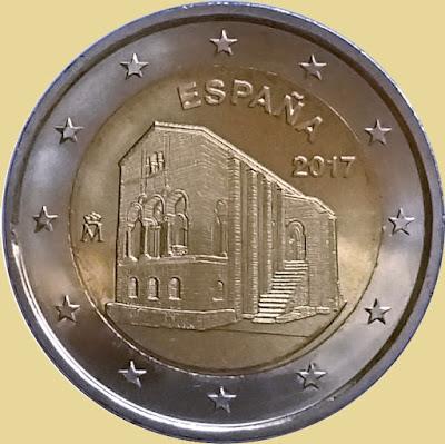 Moneda de dos euros de Santa María del Naranco. Oviedo, España, 2017