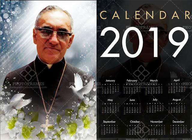 Calendario de San Arnulfo Romero del año 2019 listo para imprimir