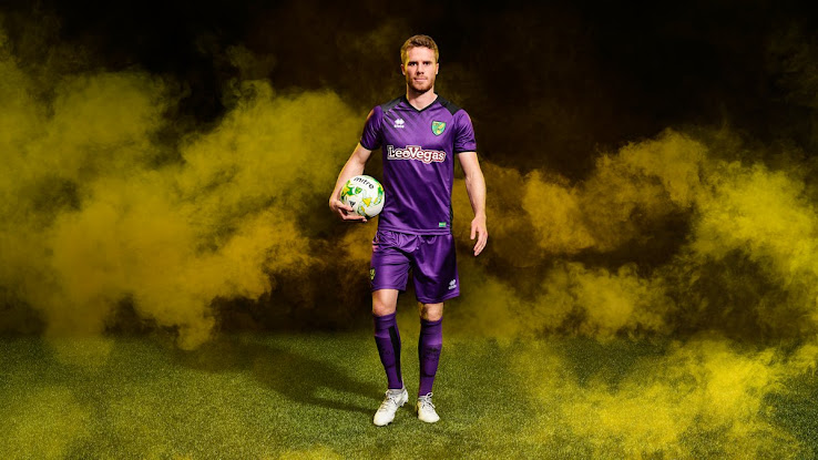 The shorts and the socks of the new Norwich City FC 17-18 third kit are  purple. 539cc0b77