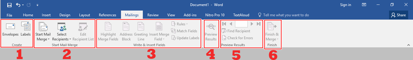 Menu bar Mailings Microsoft Word 2016