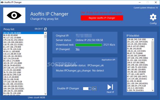 Asoftis IP Changer 1.2 F.U.L.L - Phần mềm thay đổi địa chỉ IP trình duyệt Web