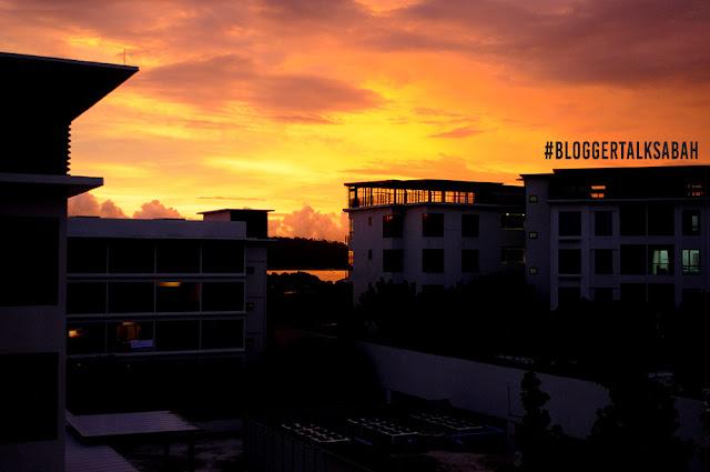 tengok sunset cantik sabah, sunset dari imago mall homestay